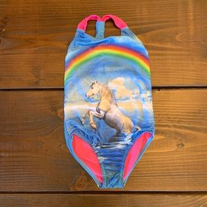 Unicorn Rainbow Girls Size 6 One Piece Swimsuit